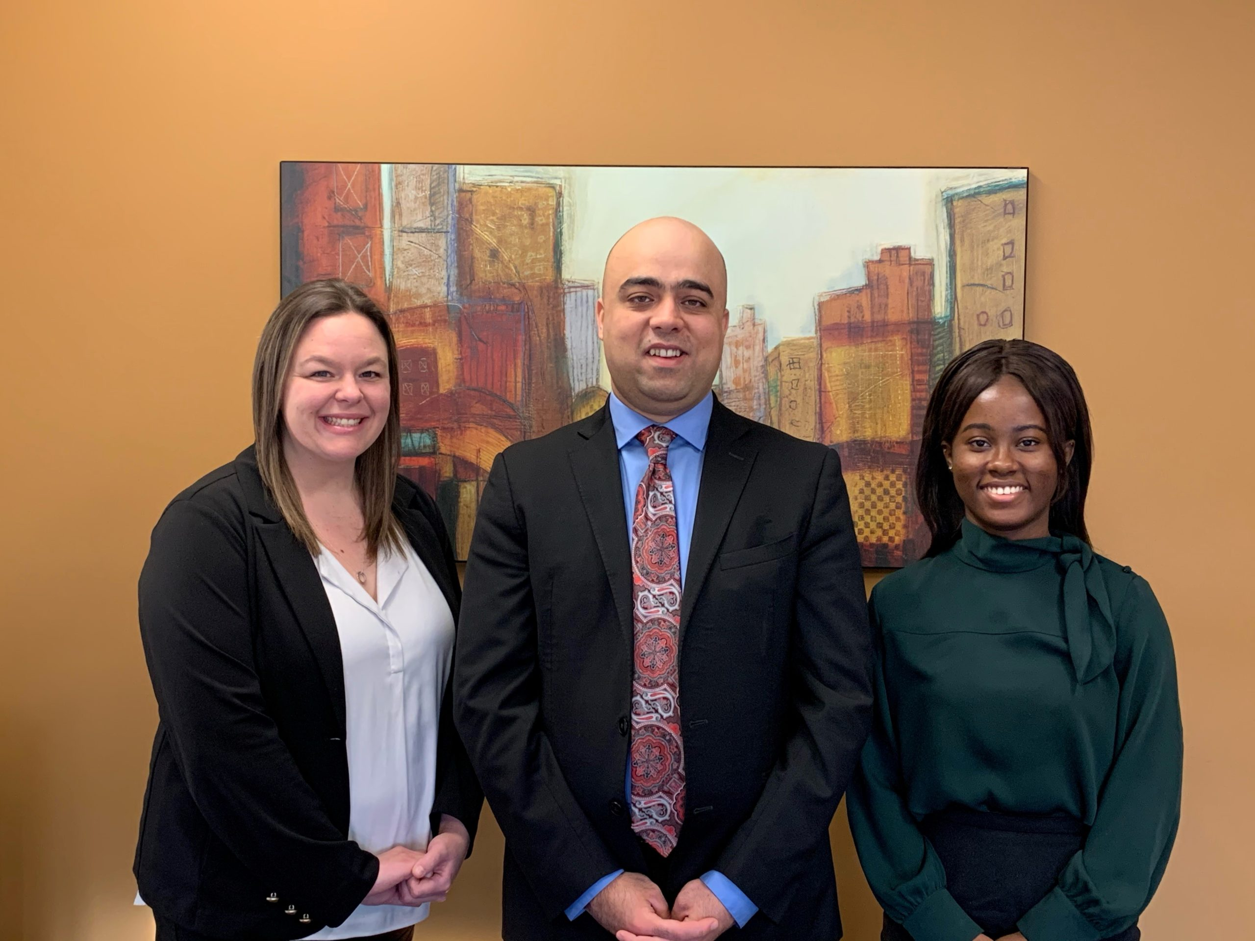 photo of the Safi Law Group legal team, from left to right, meet Stephanie Shoobridge, Sangin (Sam) Safi, and Abena Wiafe